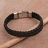 Leather wristband bracelet, 'Kintamani Braid in Black' - Black Leather Braided Wristband Bracelet from Bali