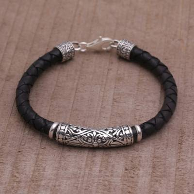 Handmade Black Leather And Sterling Silver Bracelet Lost Kingdom