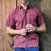 Men's batik cotton shirt, 'Distinguished Traveler' - Men's Short Sleeve Button Down Cotton Shirt