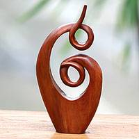 Wood sculpture, 'Twirling Together' - Handcrafted Suar Wood Abstract Sculpture from Bali