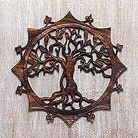 Wood relief panel, 'Sunshine Tree' - Handcrafted Circular Wood Tree Relief Panel from Bali