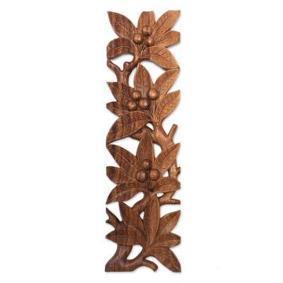 Wood relief panel, 'Fruit Vines' - Handcrafted Suar Wood Leaf Motif Relief Panel from Bali