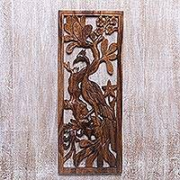Wood relief panel, 'Peacock-Tailed Heron' - Handcrafted Suar Wood Bird-Themed Relief Panel from Bali