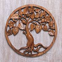 Wood relief panel, 'Tree of Strawberries' - Handcrafted Suar Wood Tree Wall Relief Panel from Bali
