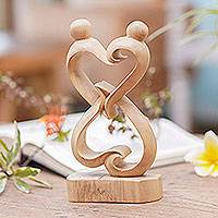 Crocodile wood statuette, 'Balanced Hearts' - Abstract Crocodile Wood Statuette of Loving Couple from Bali