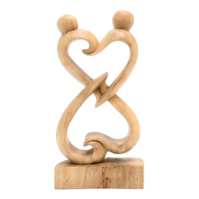 Crocodile wood statuette, 'Balanced Hearts' - Abstract Crocodile Wood Statuette of Loving Couple from Bali