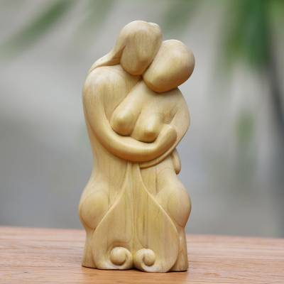 Crocodile wood statuette, 'One Soul' - Romantic Crocodile Wood Sculpture of Loving Couple from Bali