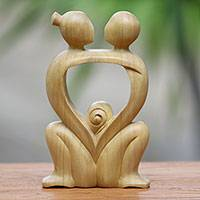 Crocodile wood statuette, 'Compassionate Embrace' - Abstract Crocodile Wood Statuette of Loving Couple from Bali
