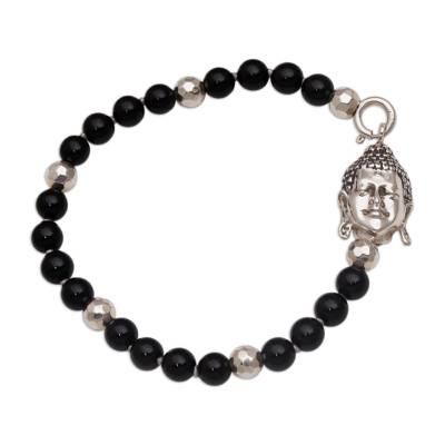 Onyx beaded bracelet, 'Buddha Orbs' - Onyx and Sterling Silver Beaded Buddha Bracelet from Bali