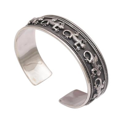 925 Sterling Silver Lizard Cuff Bracelet from Bali