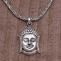 Sterling silver pendant necklace, 'Charm of Buddha' - Sterling Silver Buddha Pendant Necklace from Bali