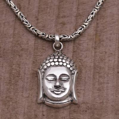 Sterling silver buddha pendant necklace from bali charm of buddha sterling silver pendant necklace charm of buddha sterling silver buddha pendant necklace aloadofball Images