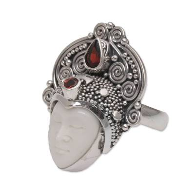 Garnet cocktail ring, 'Janger Crown' - Garnet and Sterling Silver Face Cocktail Ring from Bali