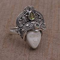 Peridot cocktail ring, 'Janger Crown' - Peridot and Sterling Silver Face Cocktail Ring from Bali