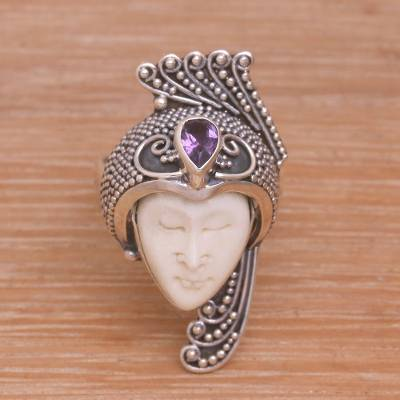 Amethyst 925 Silver And Bone Face Ring From Bali Peacock Prince Novica