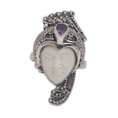 Amethyst cocktail ring, 'Peacock Prince' - Amethyst 925 Silver and Bone Face Ring from Bali