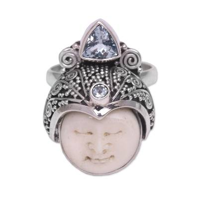 Blue topaz cocktail ring, 'Palace Knight' - Blue Topaz and Sterling Silver Face Cocktail Ring from Bali