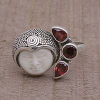 Garnet cocktail ring, 'Knight's Tale' - Garnet and Sterling Silver Cocktail Ring from Bali