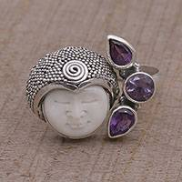 Amethyst wrap ring, 'Knight's Tale' - Amethyst and Sterling Silver Wrap Ring from Bali