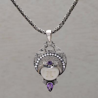 7162b0b6c90fd4 Amethyst pendant necklace, 'Lunar Queen' - Amethyst and Sterling Silver Pendant  Necklace from