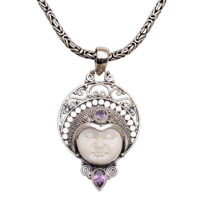 Amethyst pendant necklace, 'Lunar Queen' - Amethyst and Sterling Silver Pendant Necklace from Bali