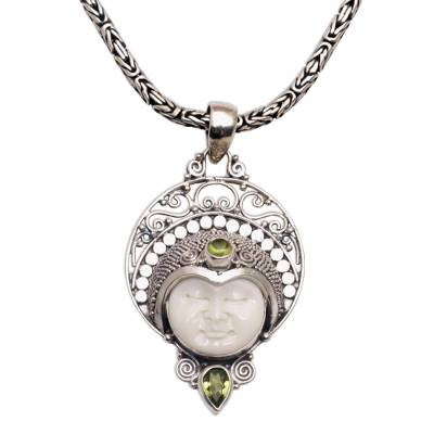 Peridot pendant necklace, 'Lunar Queen' - Peridot and Sterling Silver Pendant Necklace from Bali