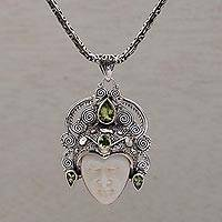 Peridot pendant necklace, 'Bedugul Prince' - Peridot and Sterling Silver Pendant Necklace from Bali