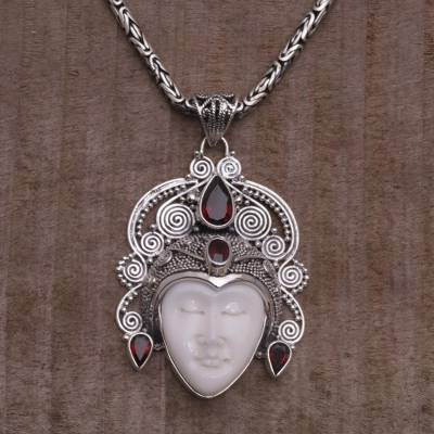Garnet and sterling silver pendant necklace from bali bedugul garnet pendant necklace bedugul prince garnet and sterling silver pendant necklace from aloadofball Images