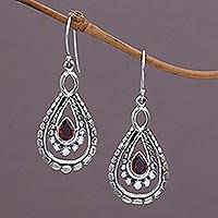 Garnet dangle earrings, 'Drop of Red' - Sterling Silver and Garnet Dangle Earrings from Indonesia