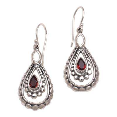 Garnet dangle earrings, 'Drop of Red' - Sterling Silver and Garnet Dangle Earrings from Indonesia