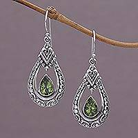 Peridot dangle earrings, 'Dewdrop Temple' - Peridot and Sterling Silver Dangle Earrings from Indonesia