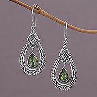 Peridot dangle earrings, 'Dewdrop Temple' - Peridot and Sterling Silver Dangle Earrings from Indonesia