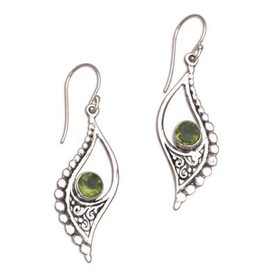 Peridot dangle earrings, 'Jungle Dew' - Peridot and Sterling Silver Dangle Earrings from Indonesia