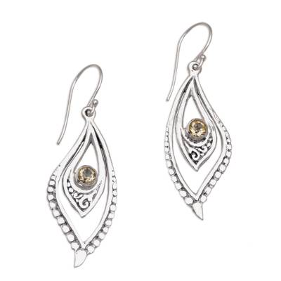 Citrine and Sterling Silver Dangle Earrings from Indonesia