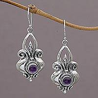 Amethyst dangle earrings, 'Glorious Majesty' - Amethyst and Sterling Silver Dangle Earrings from Indonesia