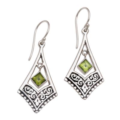 Peridot dangle earrings, 'Gianyar Dangle' - Handmade Sterling Silver Green Peridot Dangle Earrings