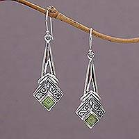 Peridot dangle earrings, 'Bali Gleam' - Peridot and Sterling Silver Dangle Earrings from Indonesia
