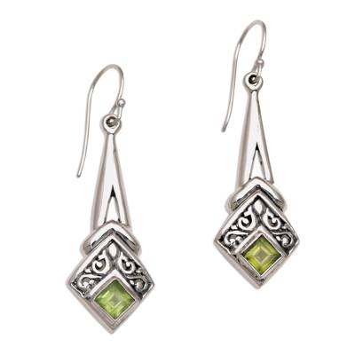 Peridot and Sterling Silver Dangle Earrings from Indonesia