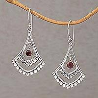 Garnet dangle earrings, 'Crimson Fanfare' - Garnet and Sterling Silver Dangle Earrings from Indonesia