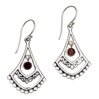 Garnet and Sterling Silver Dangle Earrings from Indonesia
