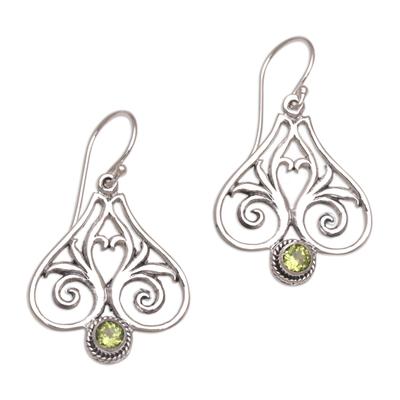 Peridot and Sterling Silver Heart Shaped Dangle Earrings