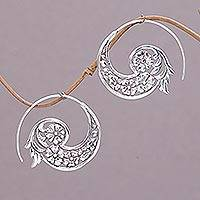 Sterling silver half-hoop earrings, 'Dazzling Flourish' - Handmade Sterling Silver Half Hoop Earrings from Indonesia