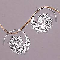 Sterling silver half-hoop earrings, 'Spiral Beauty'