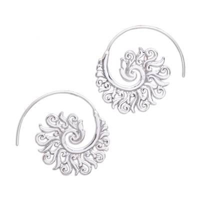 Sterling silver half-hoop earrings, 'Spiral Beauty' - 925 Sterling Silver Half Hoop Earrings from Indonesia