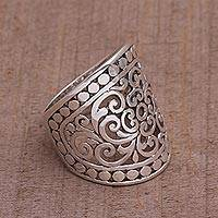 Sterling silver band ring, 'Memory of Bali' - Handmade Sterling Silver Wide Band Ring from Indonesia