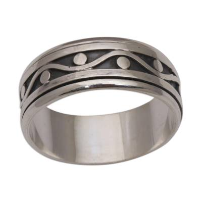 Sterling silver meditation spinner ring, 'Stream of Life' - 925 Sterling Silver Unisex Spinner Meditation Ring from Bali