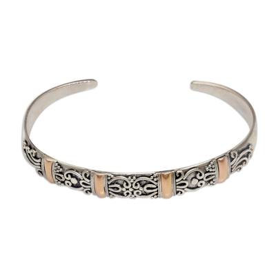 Gold accent sterling silver cuff bracelet, 'Merajan Mystique' - 18k Gold Accent Sterling Silver Cuff Bracelet from Bali