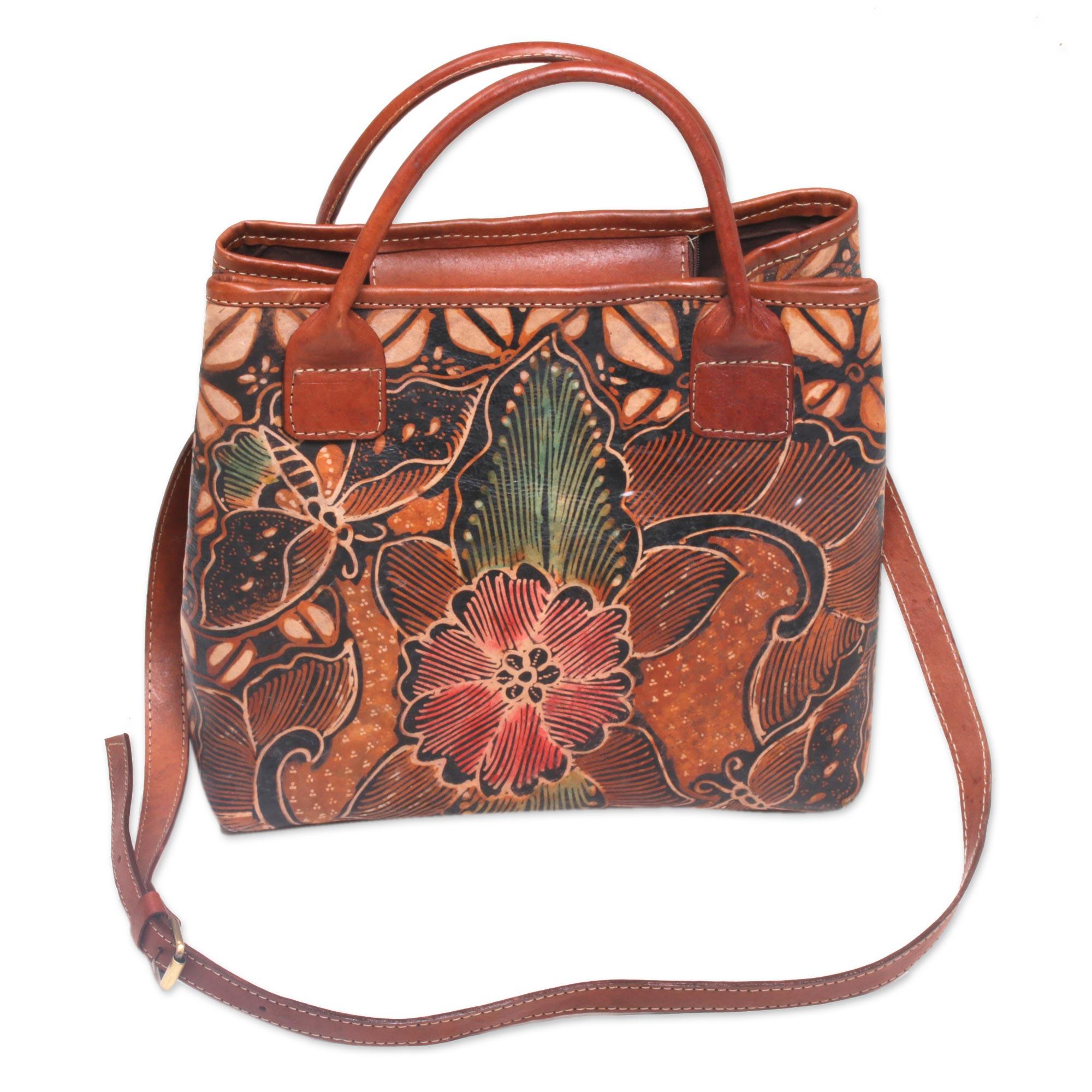 Novica Batik leather handbag, Kembang Kawung