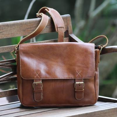 Leather messenger bag, 'Copper Traveler' - Handcrafted Leather Messenger Bag in Copper from Bali