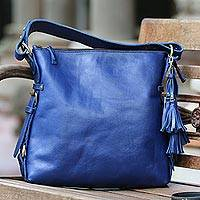 Leather handle handbag, 'Indigo Asmara' - Handcrafted Indigo Leather Handle Handbag from Bali